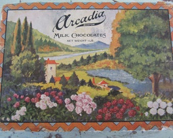 Antique 1930 Arcadia Chocolates Candy Box Filled with Wood Scrabble Tiles  Beautiful Scenic Graphics