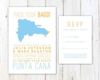 Dominican Republic Wedding Invitation, Destination Wedding Invitation, Dominican Republic Map Wedding Invitation