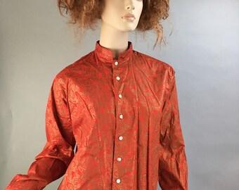 Vintage 70s Blouse// Psychedelic 70s Blouse// Mandarin Collar Paisley Blouse (F1)