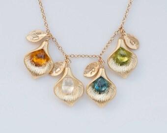 Personalized Birthstone Jewelry - Custom Initial Jewelry - Personalized Necklace - Name Necklace - Calla Lilly