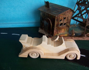 Toy Convertible Car for Children, Kids, Created from Upcycled Wood