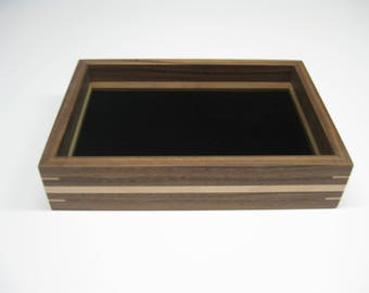 Wood Valet Tray, Valet Box made from Black Walnut with Maple splines and stripe  #206