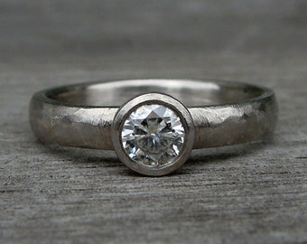 Simple Solitaire Forever One G-H-I Moissanite and 950 Palladium Engagement / Wedding Ring - Eco-Friendly Diamond Alternative - Made To Order