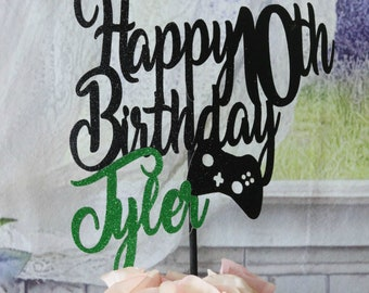 10th Birthday, ANY AGE NAME Colors, Gamer Cake Topper, Gamer Birthday Party, Boys Birthday Party, Girls Birthday Party, Video Games, Glitter