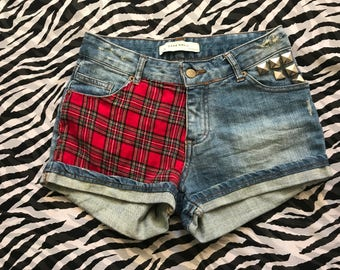 Custom Tartan Panel Denim Shorts