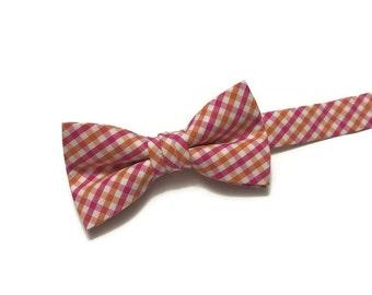 Pink and Orange Tattersall Bow Tie~Boys Bow Tie~Cotton Bow Tie~Wedding Tie