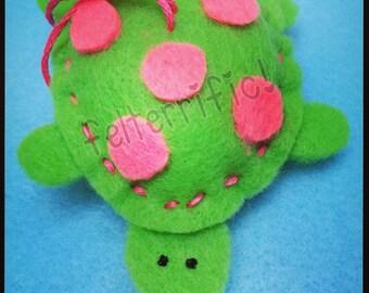 1 Dozen Handmade Felt Mini Turtle Ornaments