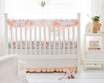 Floral Rosewater in Peach Baby Bedding Set