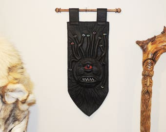 Beastly Banner- Beholder(Black Green Leather and Red eye)