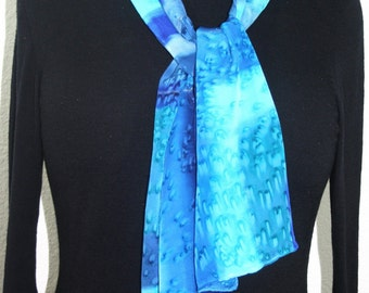 Silk Scarf Handpainted. Blue, Turquoise Hand Painted Shawl. Handmade Silk Scarf LAKE RAINDROPS. Size 8x54. Anniversary, Mother Gift
