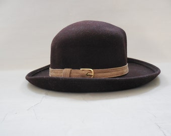 Vintage HALSTON brown wool hat with taupe band - 1970s