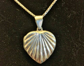 """Sterling Silver Vintage Heart Locket with Scallop Pattern and 18"""" Silver Box Chain"""
