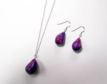 Sterling Silver Jewelry Set, Matching Jewellery, Ceramic Earrings and Necklace, Purple Jewellery, Mix and Match Jewelry, Gift Set for Her