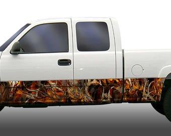 Obliteration blaze skull camouflage rocker panel stripes vinyl graphic decal