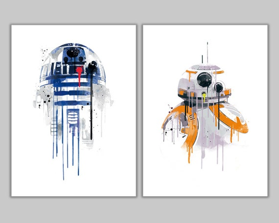 Star wars Duo watercolor Robots 20% Off Deal R2D2 and BB8 art