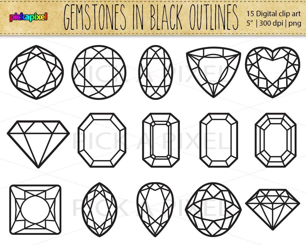 Edelsteine Diamanten in schwarzen Konturen Digital ClipArt