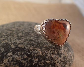 Heart Shaped Mexican Fire Opal Ring