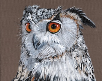 """Owl painting - print of owl painting 5"""" by 5"""" square print- bird art- owl art - wall art print - bird art print - watercolor print"""