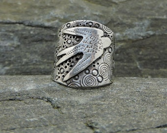 Flying Swallow Ring, Made to Order, Sterling Silver, Wide Saddle Style Ring with Bird, HandMade, Feminine, Made in NH, Symbol of Love