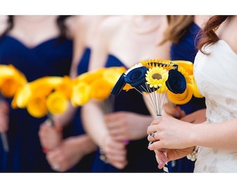 Paper Flower Bouquet - Handmade Navy and Yellow Bouquet with Sunflowers, Rolled Flowers and Daisies - Perfect for Weddings and Mother's Day