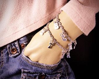 Silvertone CUSTOM NAME ALPHABET Letter Themed Charm Bracelet
