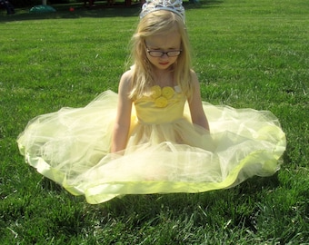 Beauty and the Beast Party Dress: yellow Belle Dress, Princess dinner trip, tutu dress satin & flowers, birthday party, halloween costume