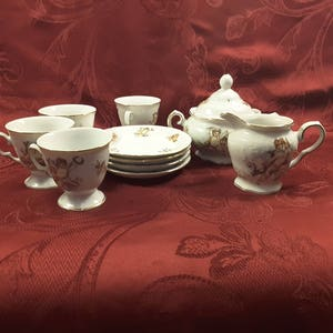 Vintage Porcelain Tea Set With Cherubs And Flowers, TRISA ANGELICA