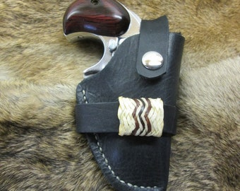 American Derringer .38 Cal Right Hand Black Leather Belt Holster w/Rawhide Accent