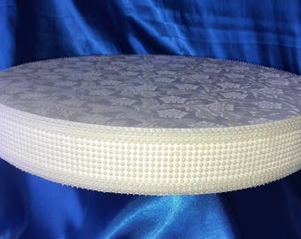 "WHITE OR IVORY Pearl Cake Stand Square Or Round Featuring 2 Inches Tall Width Sizes 8"", 10"", 12"", 14"", 16"" ,18"" 20"""