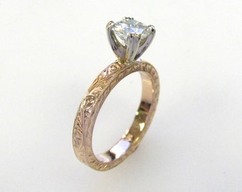 Hand Engraved Engagement Ring with 5.5mm Antique Cushion cut Moissanite in 14k pink gold