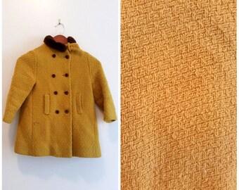 vintage pea coat girls pea coat mustard coat children's winter coat girls 4 vintage wool coat mustard yellow winter coat