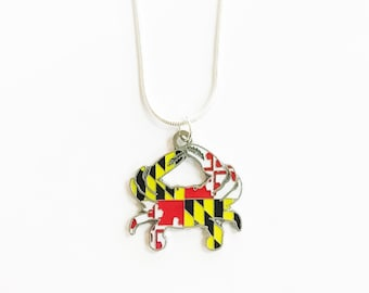 Maryland Flag Crab Necklace