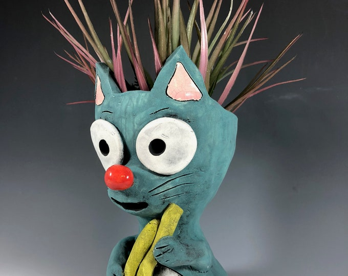 Jory Cat plays the Horn // Turquoise Kitty // Succulent Pot // Animal Planter // Small Sculpture // Ceramic // Adorable // Unique // Gift