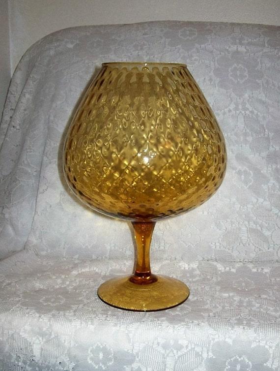 Vintage Amber Italian Art Glass Brandy Snifter Vase Empoli