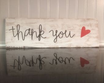Thank You Hand Lettered Wood Sign