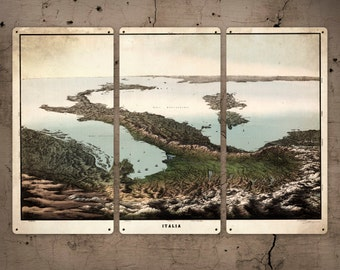 """Vintage Panoramic Map of Italy METAL triptych 36x24"""" FREE SHIPPING"""
