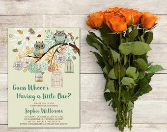 Printable Baby Shower Invitation, Owl Invitation, Owl Baby Shower, Autumn Invite, Fall Baby, Bird Cage Baby Shower, Autumn Flowers