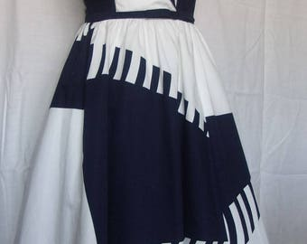 Vintage 1970s does 1950s Victor Costa Strapless Blue White Abstract Print Flared Dress Small Extra Small