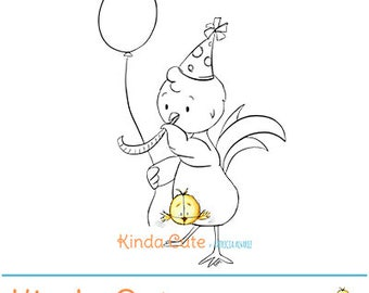 Instant Download digital stamp. Party chicken digital stamps (black/white only). Birthday digital stamp. Celebration stamp.