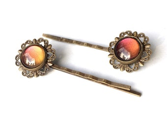 Sunset Flower Hair Pins // Vintage Antique Brass Style, Orange Red Yellow Multichrome, Bobby pins, Hair Jewelry, Hair Pins, Hair Slides