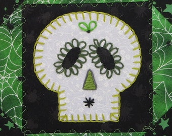 Sugar Skull Quilt, Witchy Green