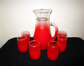Blendo Red Juice Pitcher and 6 Glasses, West Virginia Glass, Gold Rim