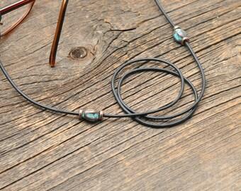 Boho leather Glasses Chain,Leather Eyeglass Chain, Sunglasses Chain, Copper Glasses Chain, Antique Copper Eyeglass  Chain, Glasses Holder