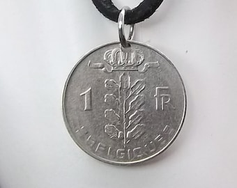 Belgium Coin Necklace, 1 Franc, Coin Pendant, Leather Cord, Men's Necklace, Women's Necklace, 1973