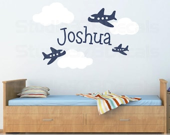 Airplane Clouds Wall Decals - Nursery Clouds - Personalized Boy Name - Nursery Vinyl Decals - Childrens - 24x36