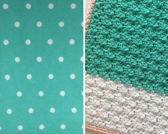 Polka Dots-Blanket-Teal-White-Dots-Minky-Baby Blanket-Burp Cloths-Baby Blanket-Layette Set