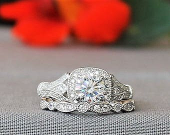 Wedding Ring Set Art Deco style,1 ct Round cut Halo Simulated Diamond with Matching Filigree Band, E-Grace