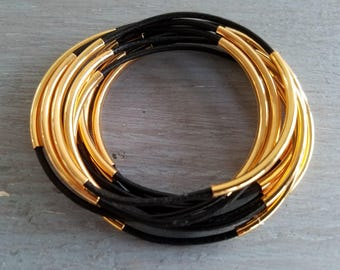 Black and Gold Leather Bangle Set of 8 Stackable Bracelets Tube Bangles Leather Jewelry Boho Chic by LizzieTishBoutique