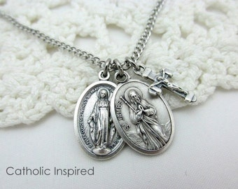 Stainless Steel Necklace St. James Medal  Add a Miraculous Medal and/or Crucifix Men Boys Male Continuous Chain No Clasps Over Head