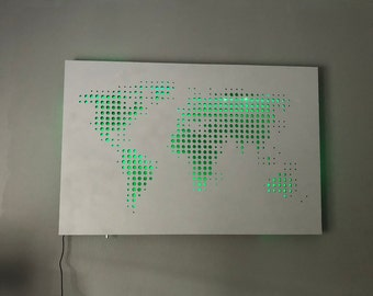 Abstract World Map Wall Art With RGB LED Strip